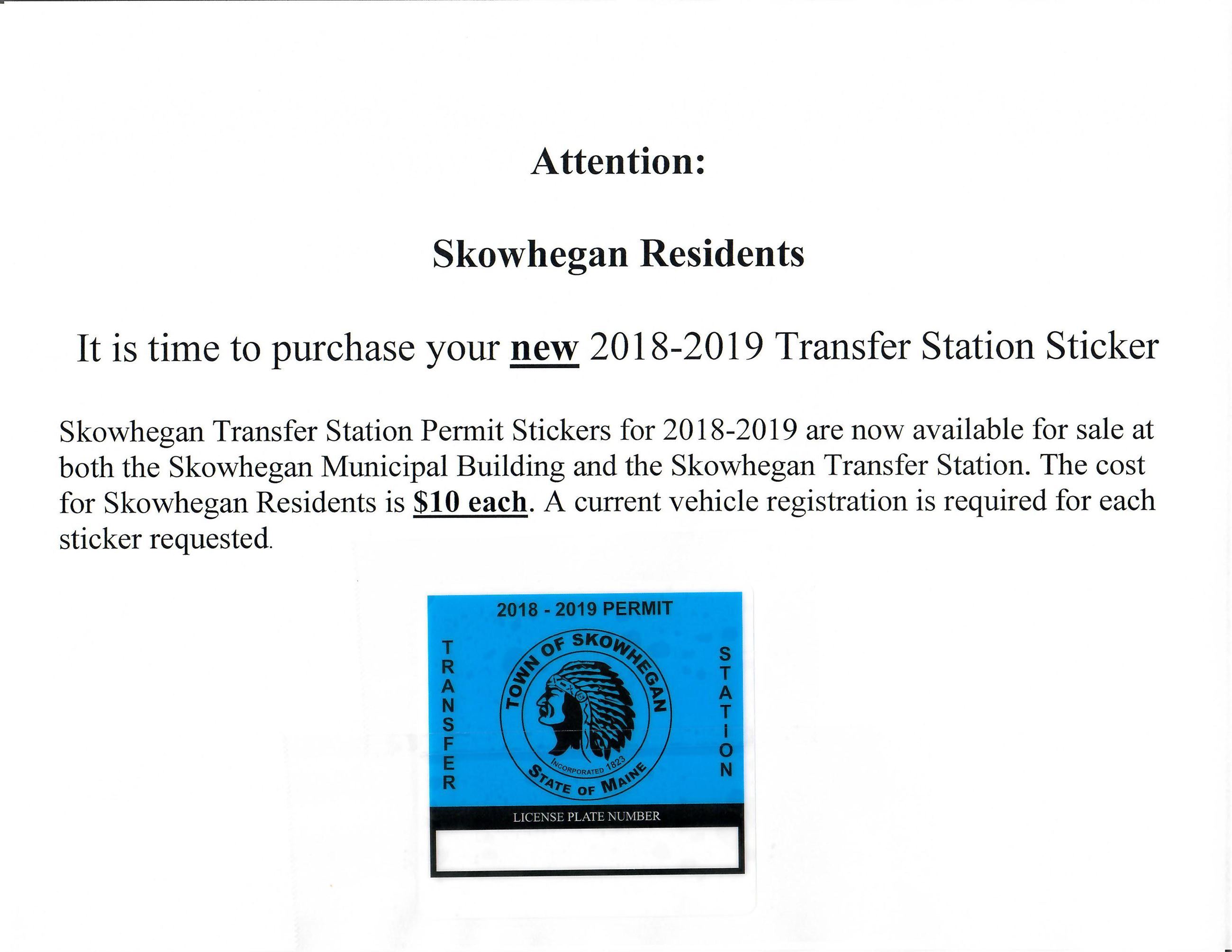 2018-2019 Transfer Station Stickers
