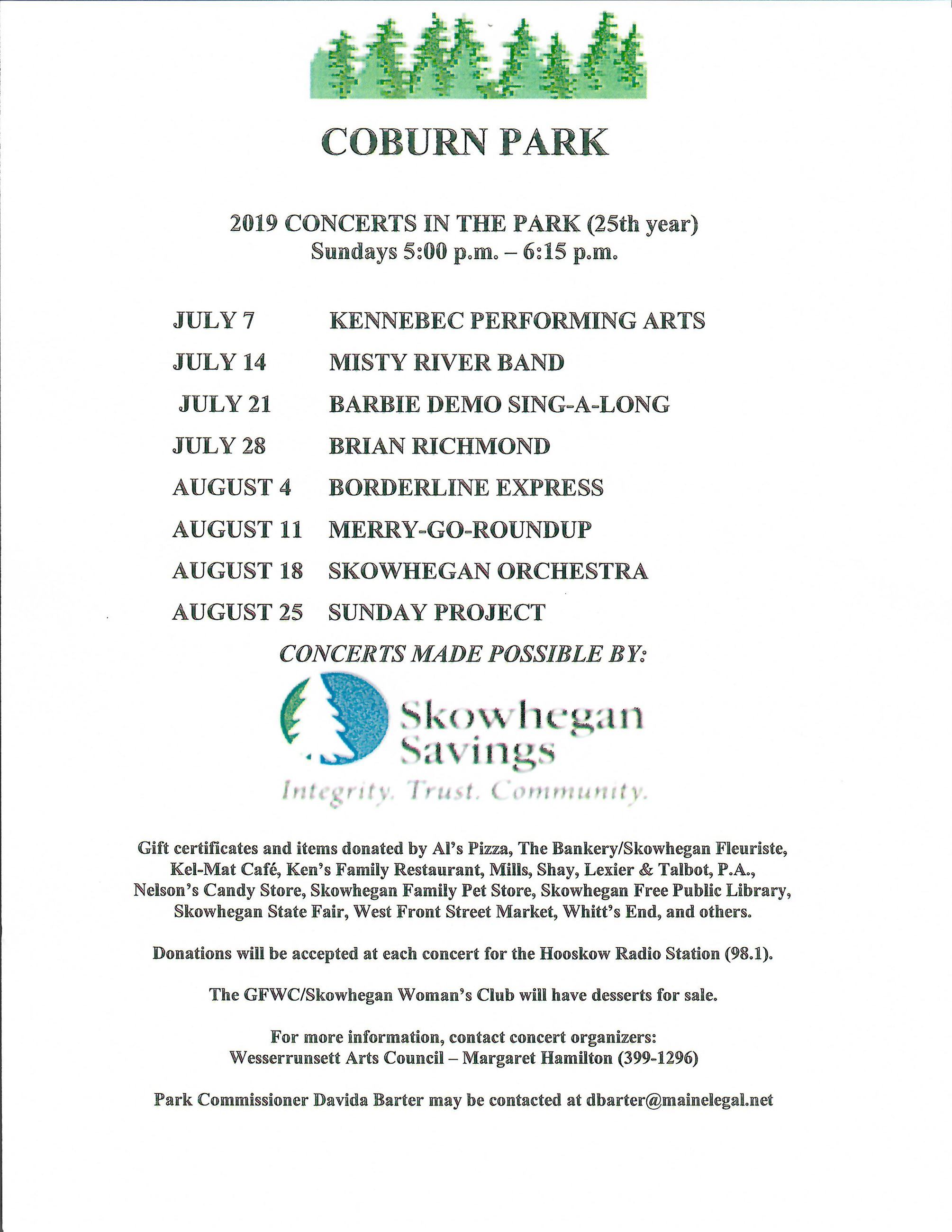 Concerts in the Park Flyer