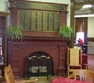 Fireplace in Library